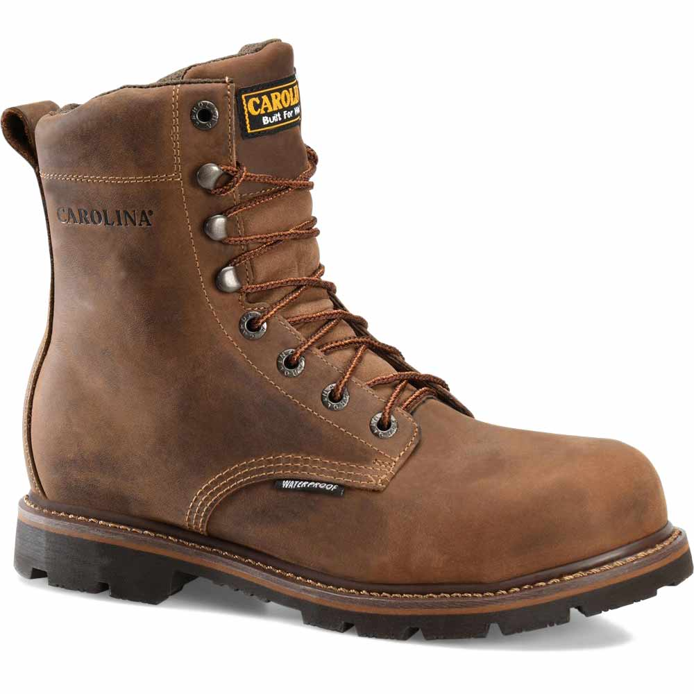 carolina installer 8 inch brown wp steel toe work boot