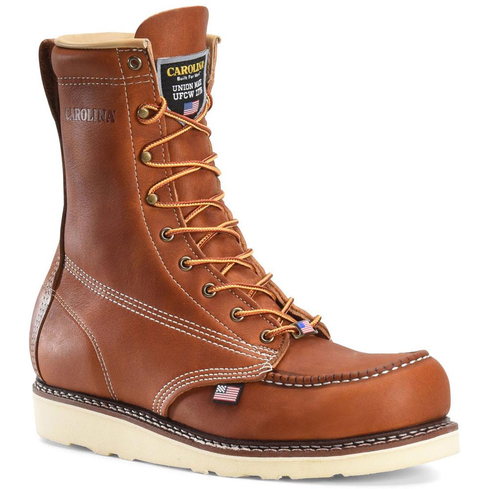 Carolina 8 Inch Moc Toe Brown Wedge Work Boots - CA7002