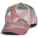 Women's Camoflague Embroidered Pink Ribbon Baseball Cap