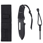 Basic Issue Black Paracord Survival Knife with Fire Starter