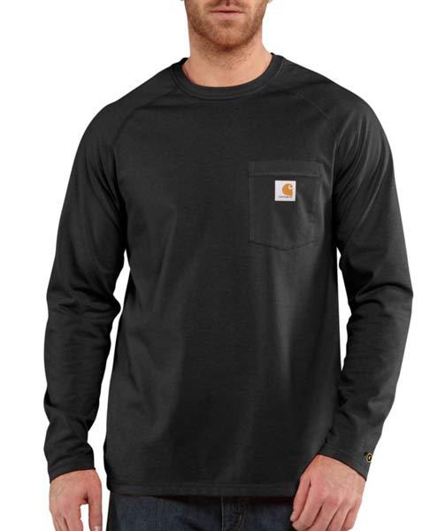Carhartt Force Moisture Wicking Black Long Sleeve T Shirt