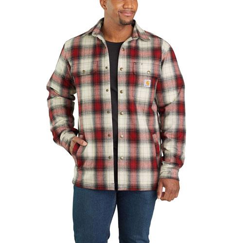 Carhartt hubbard sherpa lined flannel shirt jacket for Fleece lined flannel shirt