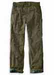 Carhartt Mens Washed Twill Dungaree Flannel Lined Pants