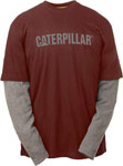 Caterpillar Thermal Layered Long Sleeve Burnt Brick and Grey T-Shirt