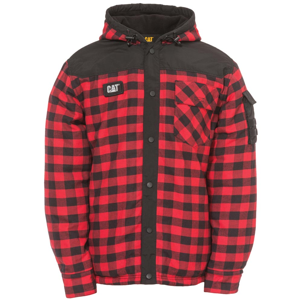 Cat Sequoia Red Plaid Hooded Shirt Jacket 1610006