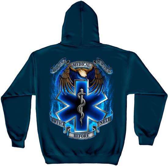 Service Before Self Long Sleeve EMS Hoodie | Paramedic Sweatshirt