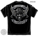 Steel Fire Wings Firefighter T-Shirt - Foil Stamp Black