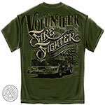 American Classic Volunteer Firefighter T-Shirt - Olive Green
