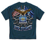 Air Force Shield, Double Flag and Eagle T-Shirt - Navy