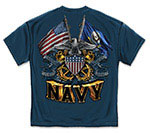 Navy Shield, Double Flag and Eagle T-Shirt - Navy