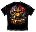 USMC Gold Globe, Eagle and Double Flag T-Shirt - Black