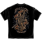 Scales of Justice Full Front and Back Police T-Shirt - Black