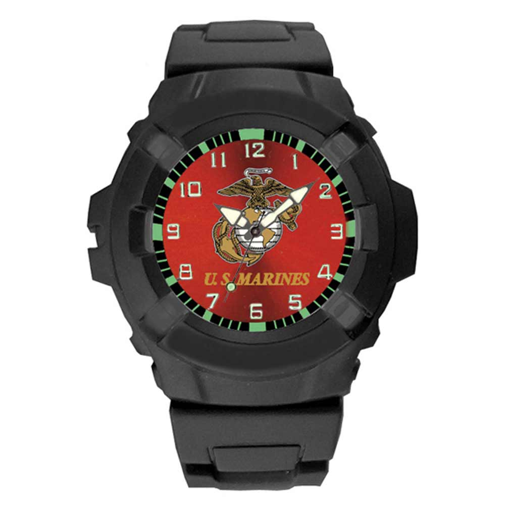 Aqua force 24ar red face analog united states marines wrist watch for Marine watches