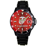 Aqua Force Black and Red Analog U.S. Marines Watch - Red Face