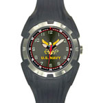 Analog Quartz Black U.S. Navy Logo Watch