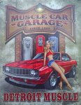 Detroit Muscle Car Garage Historic Metal Sign