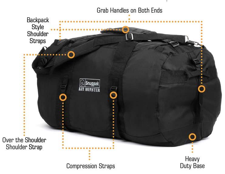 120 liter kit monster travel duffel bag by snugpak. Black Bedroom Furniture Sets. Home Design Ideas
