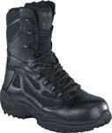 Reebok Womens Rapid Response 8 inch Black Side Zip Composite Toe Tactical Boots - RB874