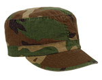 Womens Ripstop Fatigue Cap Woodland Camo