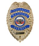 Deluxe Gold Concealed Weapons Permit Badge