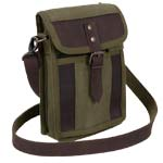 Vintage Olive Drab Canvas and Leather Travel Portfolio