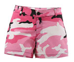 Ladies Pink Camo Short Shorts