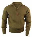 Olive Drab Acrylic Quarter Zip Military Commando Sweater