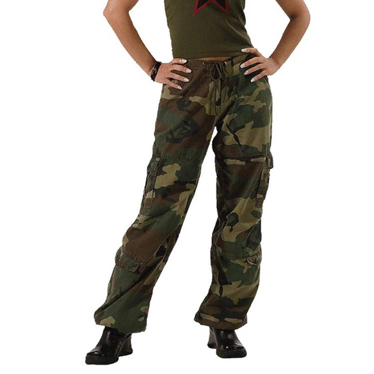 Vintage Paratrooper Woodland Camo Ladies Pants Military