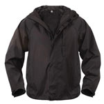 Black Pack-Away Wateproof Rain Jacket