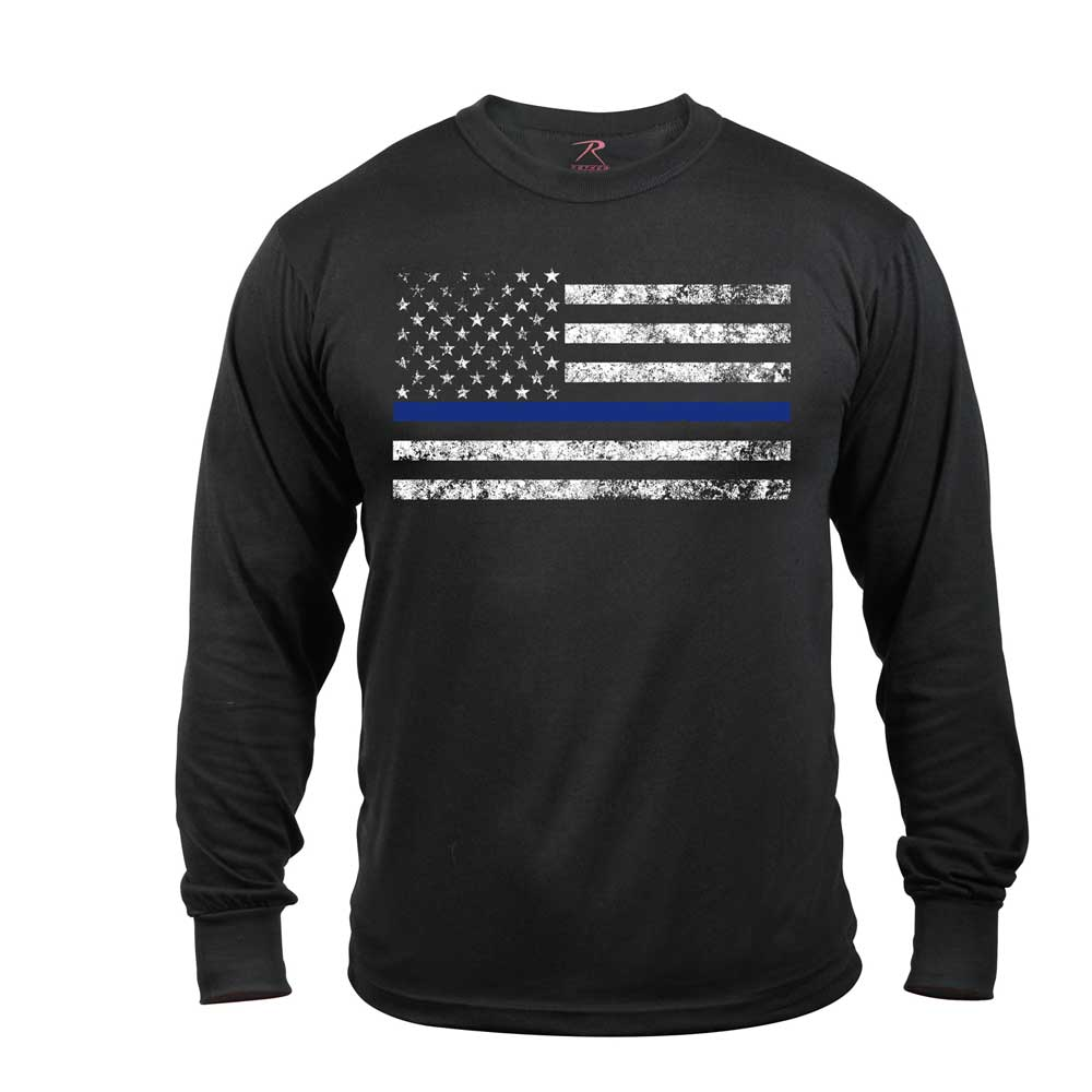 Long sleeve thin blue line flag t shirt for Thin long sleeve t shirts
