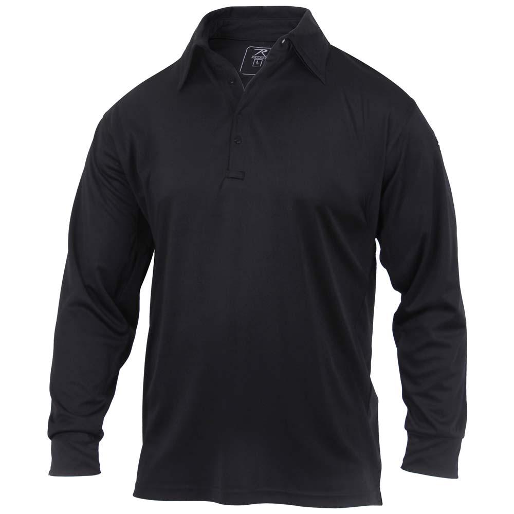 black tactical performance long sleeve polo shirt