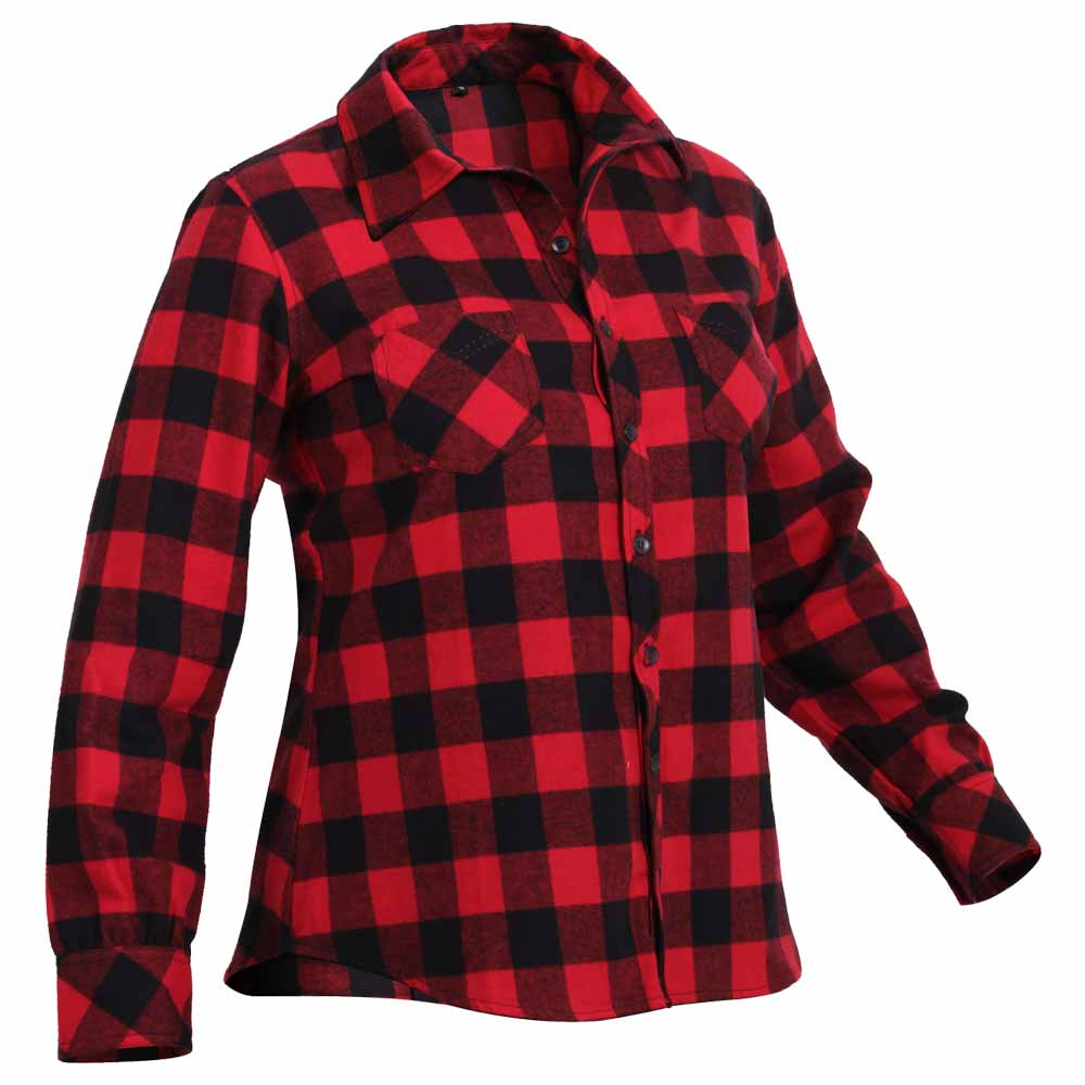 Women 39 s red buffalo plaid flannel button down shirt for Womens plaid flannel shirts