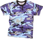 Electric Blue Camo Military T-shirt