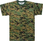 Woodland Digital Camo Military T-shirt