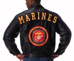 Marine Corps Leather Jacket with Back Patch