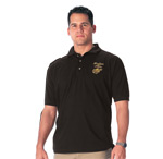 Black Marines Embroidered Polo Shirt