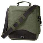 Olive Drab Vintage M-51 Engineer Messenger Bag with Leather Trim