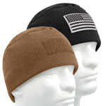 Military Style Polar Fleece Watch Cap with Patch Loop