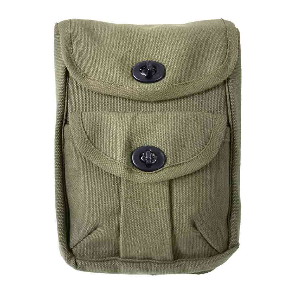 Olive Drab Canvas 2 Pocket Military Ammo Pouch