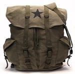 Olive Drab Top Load Vintage Star Military Canvas Backpack