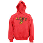 Globe and Anchor Red Pullover Marines Hoodie