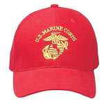 Red Marine Globe and Anchor Baseball Hat
