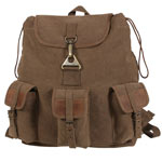 Leather and Canvas Wayfarer Military Backpack