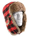Red Plaid Fur Bomber Hat