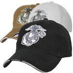 Black and Sliver USMC Globe and Anchor Low Profile Baseball Hat