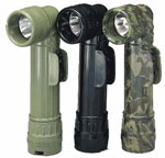 Genuine Military 2 D-Cell Angle Head Flashlight - Black