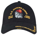 Black Marine Bulldog Baseball Hat