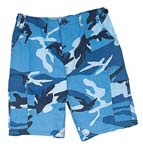 Sky Blue Camo Military BDU Cargo Shorts