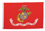 Red 3x5 Marine Globe and Anchor Flag