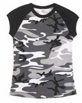 Womens Black and White Urban Camo T-Shirt